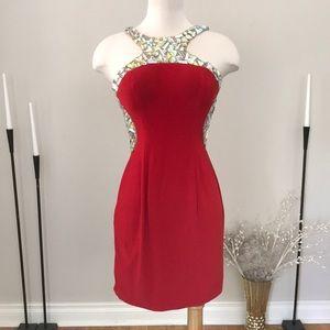 MeProm Moonlight Red gemstone dress NWT